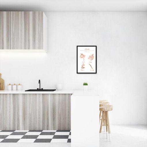 plakat z motywem ziół kuchennych