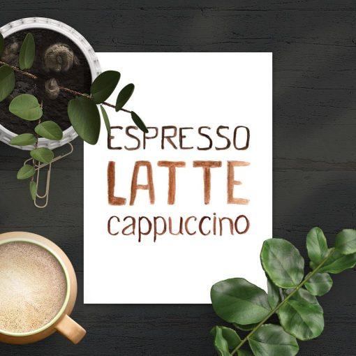 kawa w brązie na plakacie do kawiarni