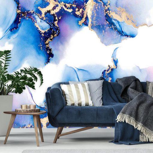 Foto-tapeta boho z motywem plam niebieskich