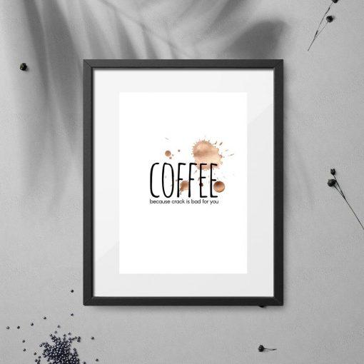 plakat z kawą, napisem i plamkami do kawiarni