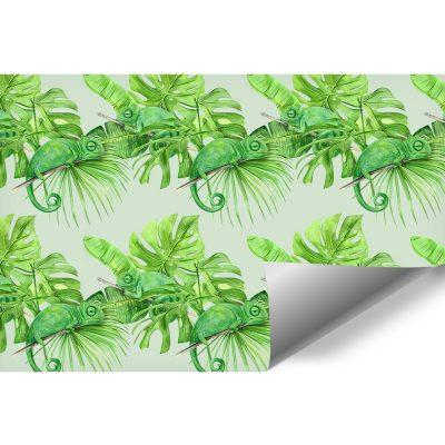 Kameleony i tropikalne liście na fototapecie