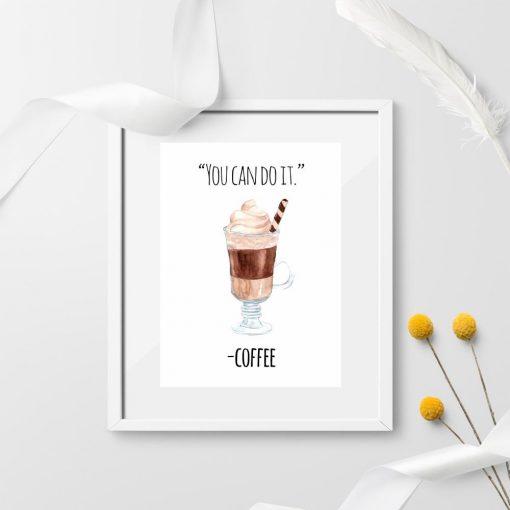 dekoracja z kawą jako plakat ścienny `