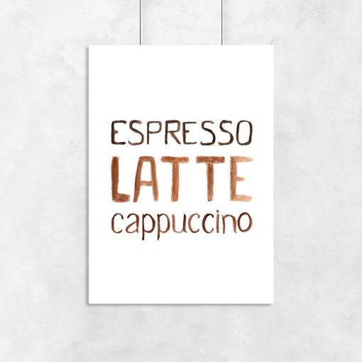 3 kawy jako motyw plakatu ściennego