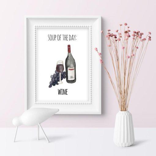 wino jako motyw plakatu do kuchni