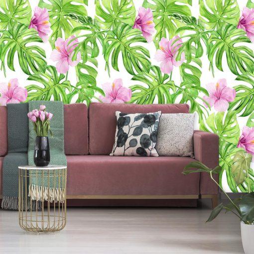 Tapeta z tropikalnymi roślinami