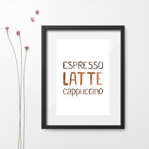 brązowy plakat z kawą espresso, latte, cappuccino