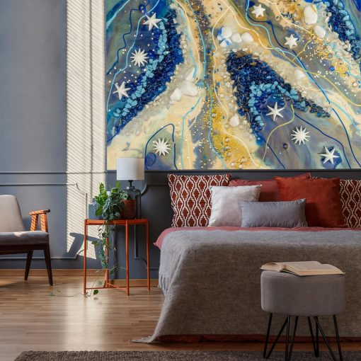 dekoracja do sypialni z motywem abstrakcji kolory niebieski i bezowy