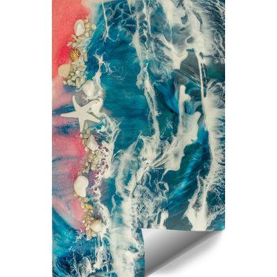 Fototapeta kompozycja malarska- morze niebiesko różowe