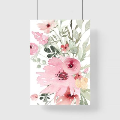 Plakat z romantycznymi kwiatami