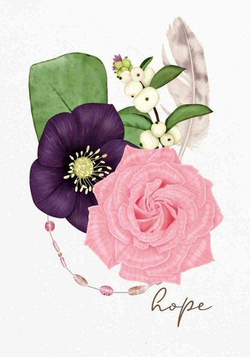 plakat z kwiatową ilustracją