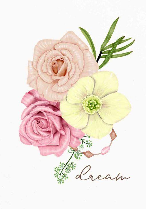 plakat z motywem różowo-żółtych kwiatów