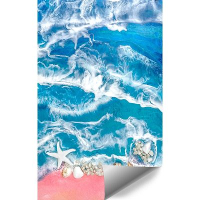Fototapeta kompozycja malarska niebiesko różowe morze