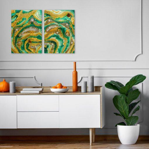 Obraz dyptyk z żółto zieloną abstrakcją i złotymi elementami