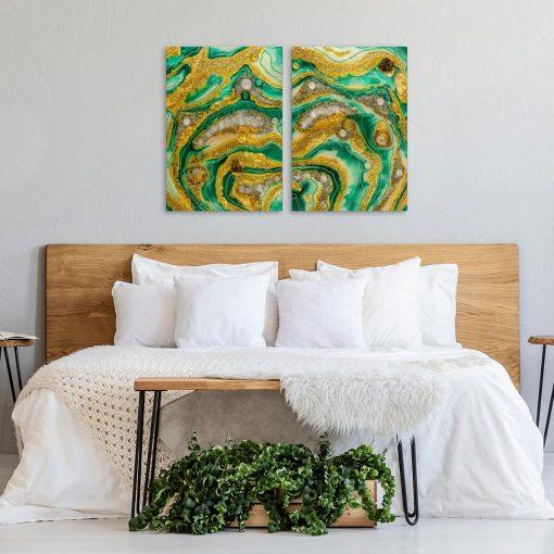 Dyptyk do sypialni zielona abstrakcja geode art