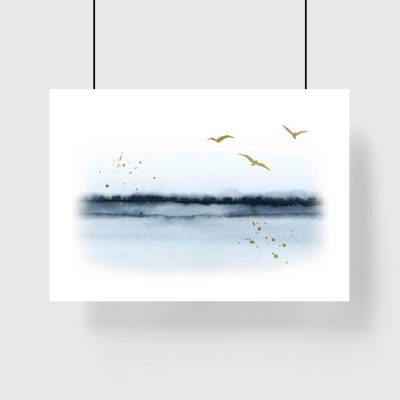 Plakat - Ptaki lecące nad jeziorem