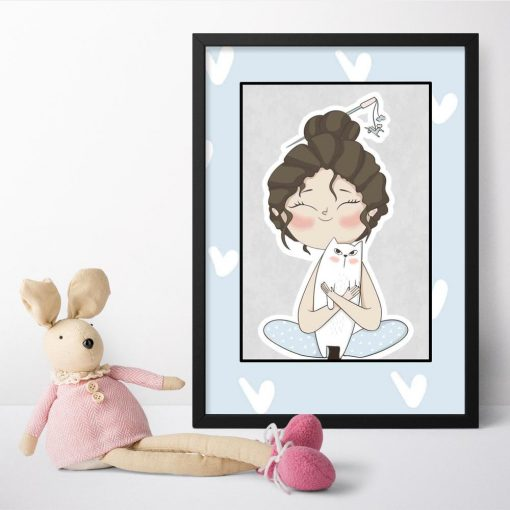 Plakat dla dzieci z dziewczynką i uroczym kociakiem