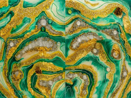 Obraz dyptyk z żółto zieloną abstrakcją i kamieniami