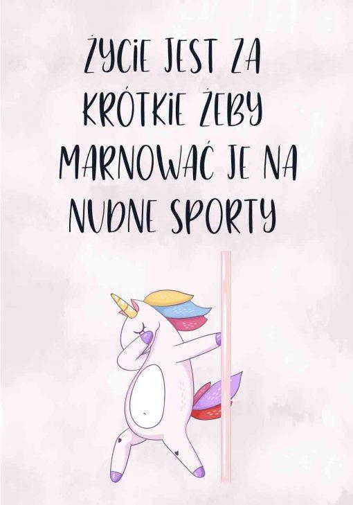 Plakat z napisem - Życie jest za krótkie żeby marnować je na nudne sporty