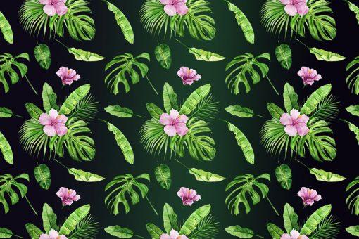 foto-tapeta z egzotycznymi roślinami w kolorze różowym