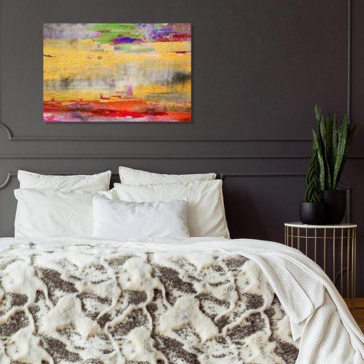 obraz do sypialni z chaotycznymi pociągnięciami pędzla