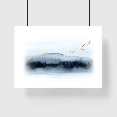 Plakat - Gromada lecących ptaków