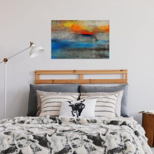 obraz sypialniany z kolorowymi plamami farby