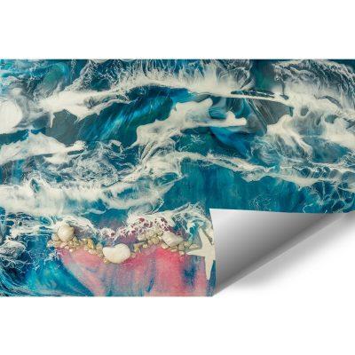 fototapeta z motywem morskim w odcieniach różu i niebieskiego