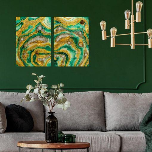 Inspiracja do salonu dyptyk z żywicy geode art abstrakcja