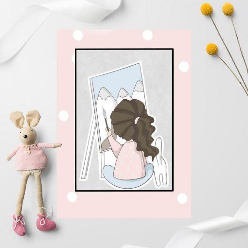 Plakat dla dziecka - Dziewczynka malująca góry