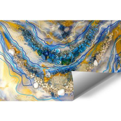 fototapeta kompozycja malarska turkusowo złota abstrakcja z kamieniami