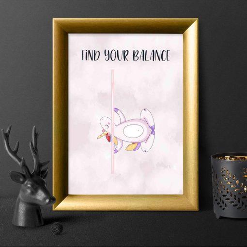 Plakat - Find your balance na ścianę studia pole dance