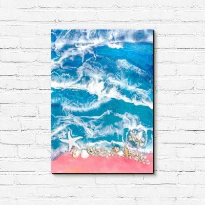 obraz morze z falami kamieniami i muszelkami