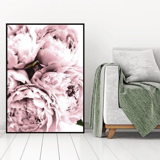 plakat w czarnej ramie z różowymi peoniami