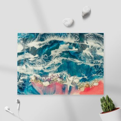 obraz z morskim wzorem resin sea z żywicy z kamieniami