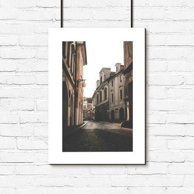 plakat z paryską uliczką