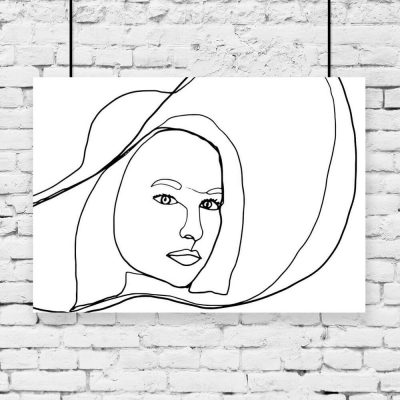 Plakat z kobietą w kapeluszu do biura
