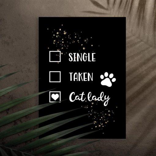 Plakat - Cat lady na przedpokój