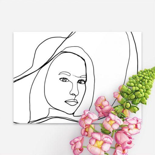 Plakat z kobietą w kapeluszu do sypialni