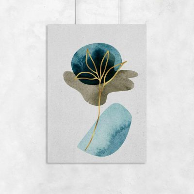 Plakat ze złotą rośliną do salonu