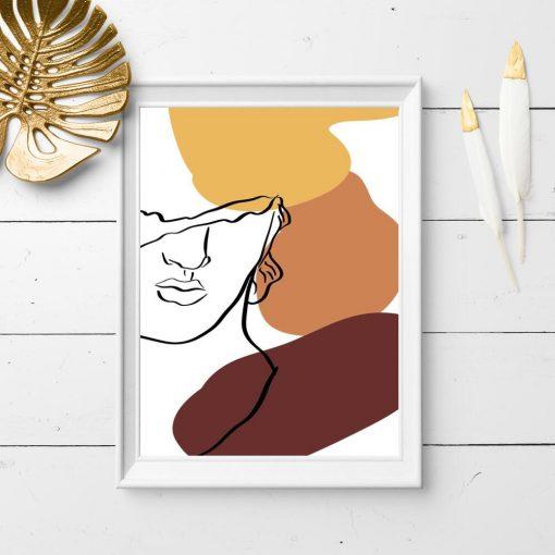 Plakat line art z twarzą mężczyzny do przedpokoju