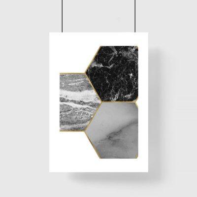 Plakat - Kamienne sześciokąty do salonu