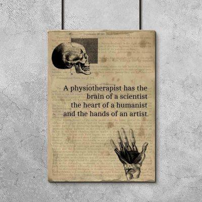 Plakat z angielskim napisem o fizjoterapii