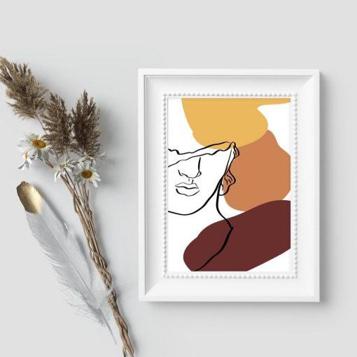 Plakat line art z twarzą mężczyzny do sypialni