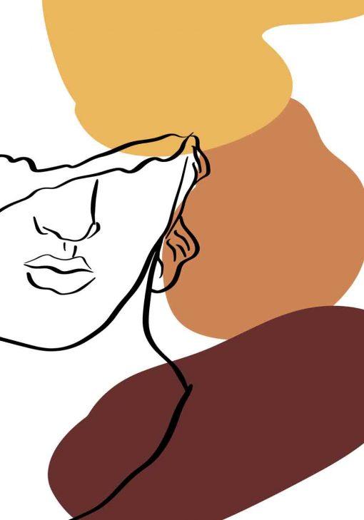 Plakat line art z twarzą mężczyzny