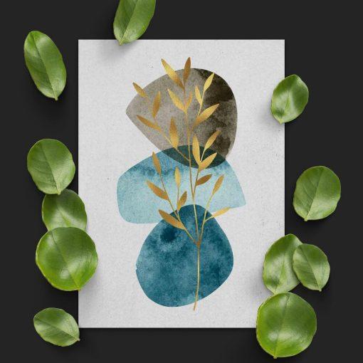 Plakat z gałązką i abstrakcją do przedpokoju