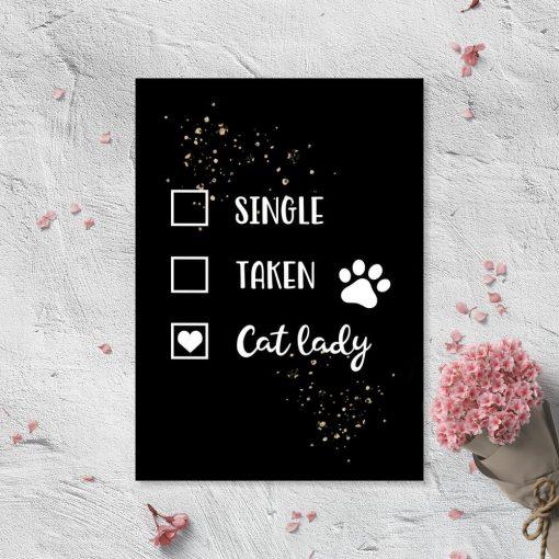 Plakat - Cat lady dla miłośnika kotów