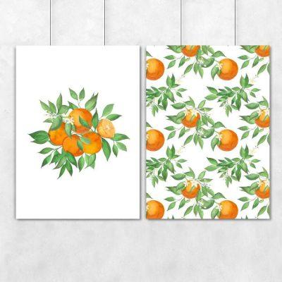 Plakat dyptyk z pomarańczami na prezent