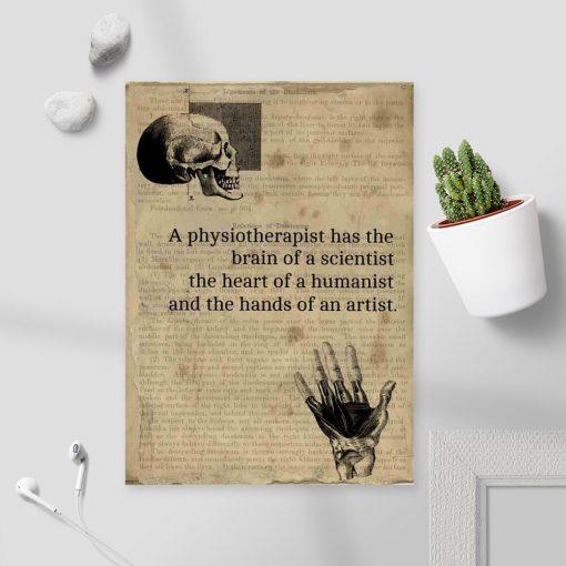 Plakat z angielską typografią o fizjoterapii