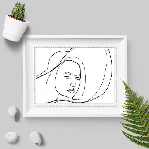 Plakat z kobietą w kapeluszu na prezent