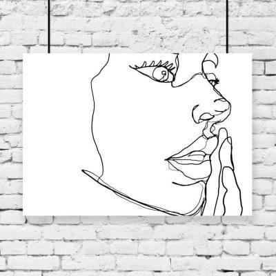 Plakat z profilem kobiecej twarzy do pokoju